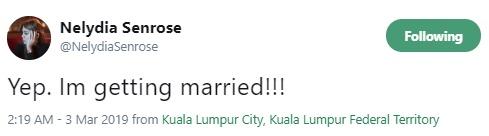 nelydia senrose kahwin