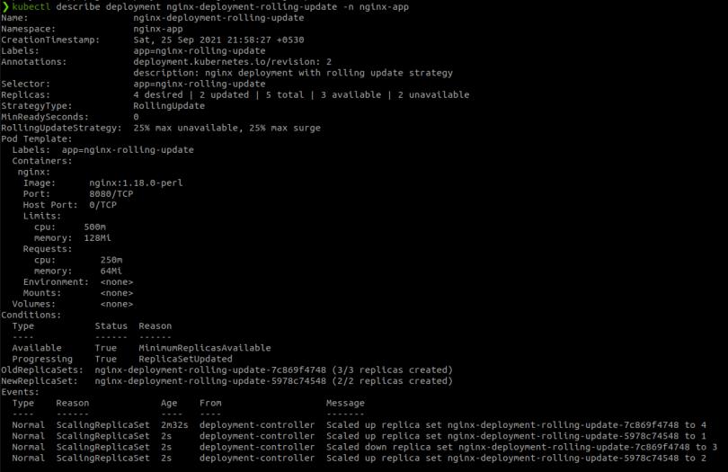 describe kubernetes deployment after update