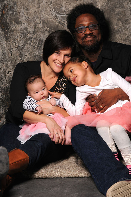 W. Kamau Bell with his wife and children