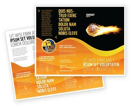 Flaming Basketball Brochure Template Design And Layout Download Now