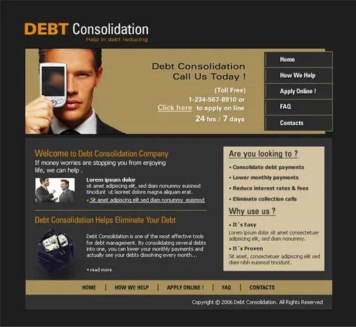 Debt Consolidation Company Web Template  PoweredTemplatecom