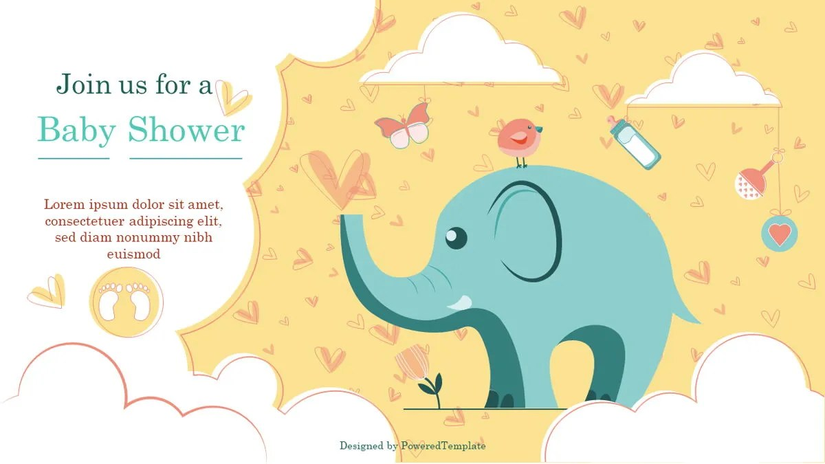 Elephant Baby Shower Party Invitation - Free Presentation Template for Google Slides and PowerPoint | #07115