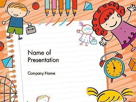 Plantilla de PowerPoint  nios y juguetes de dibujo de