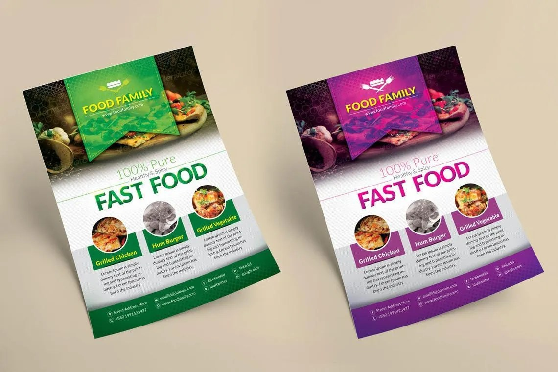 fast food restaurant flyer and poster