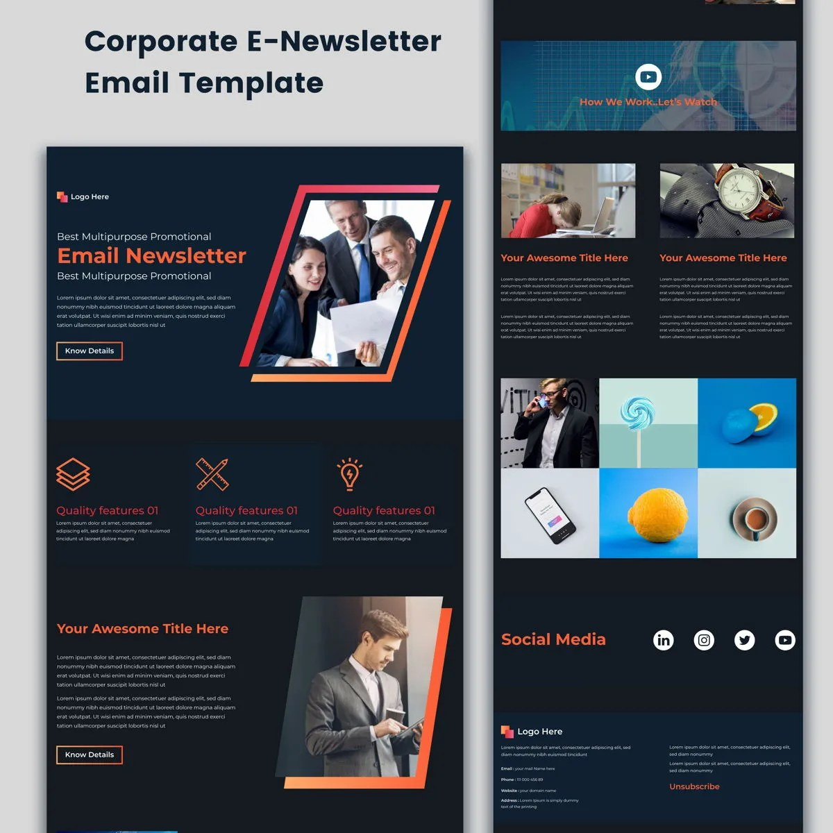 Red and blue modern corporate startup email newsletter. Multipurpose Corporate E Newsletter Email Template Buletin Mdimranmollah Poweredtemplate Com