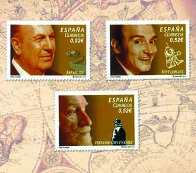 Imagen de los tres sellos dedicados a figuras del cine español. A.C.R.