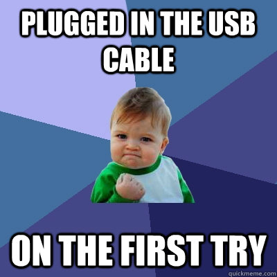 plugged in the usb cable on the first try - Success Kid