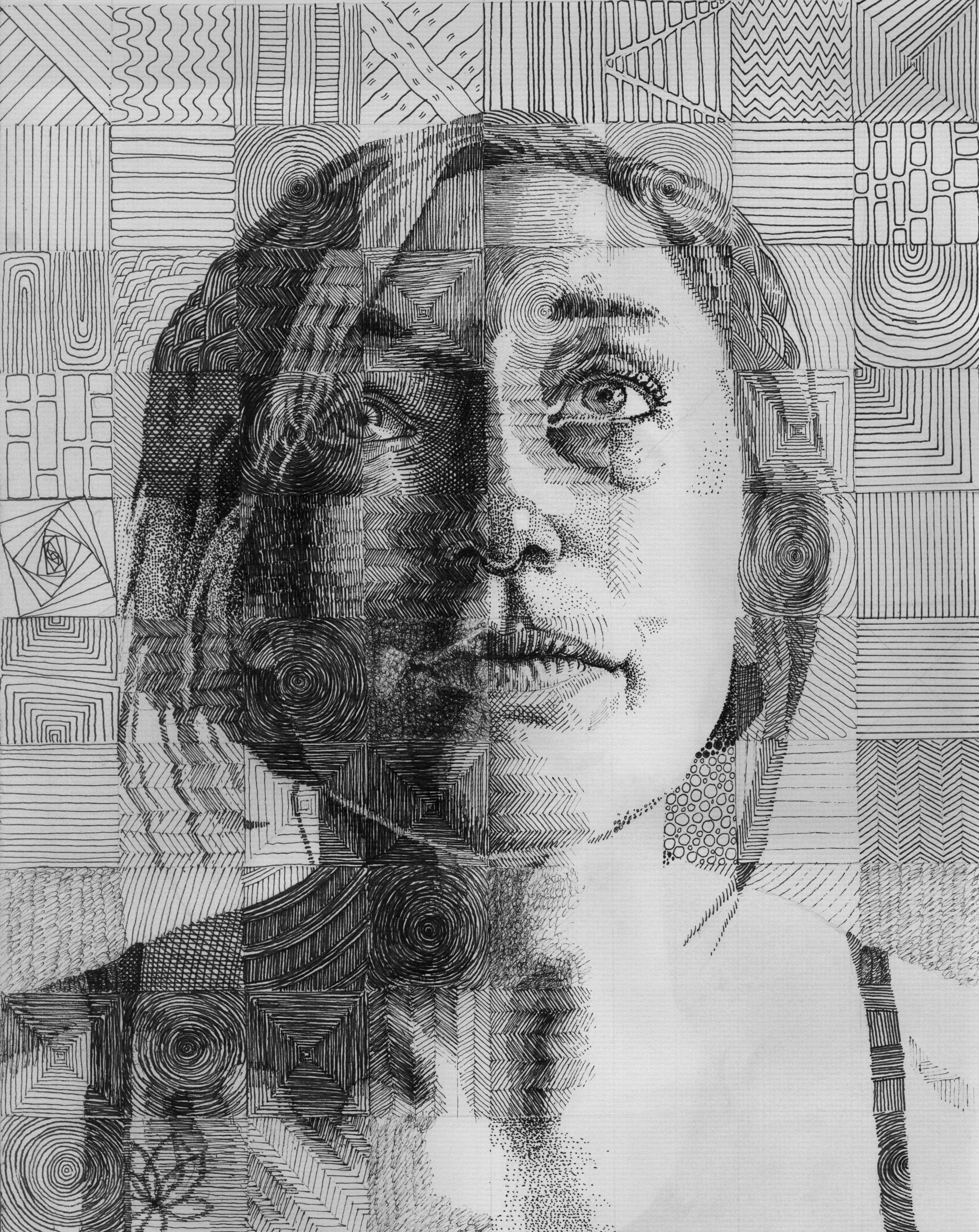 Grid Portrait I Did Of My Girlfriend With Each Square