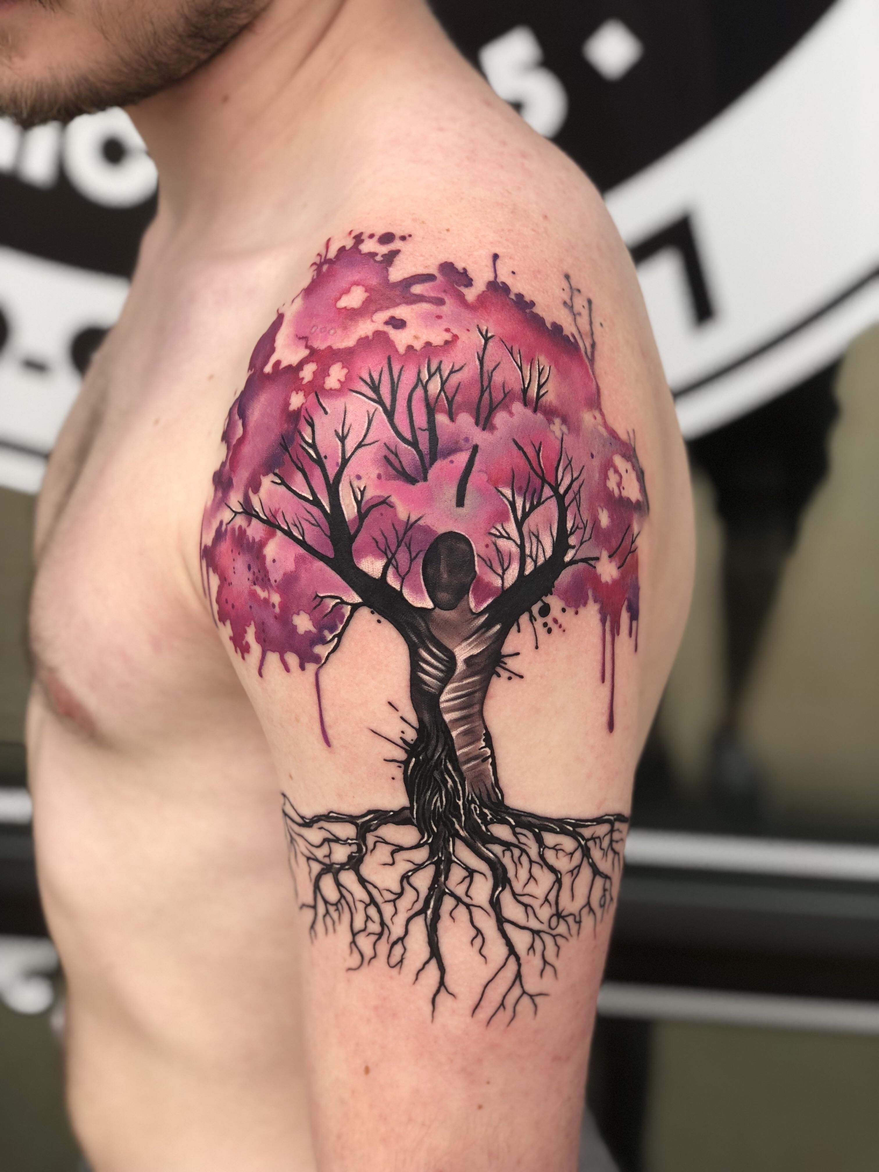 Neon Dragon Tattoos : dragon, tattoos, Watercolor, Dogwood, Mural, Tyler, (Neon, Dragon, Tattoo,, Cedar, Rapids,, Tattoos