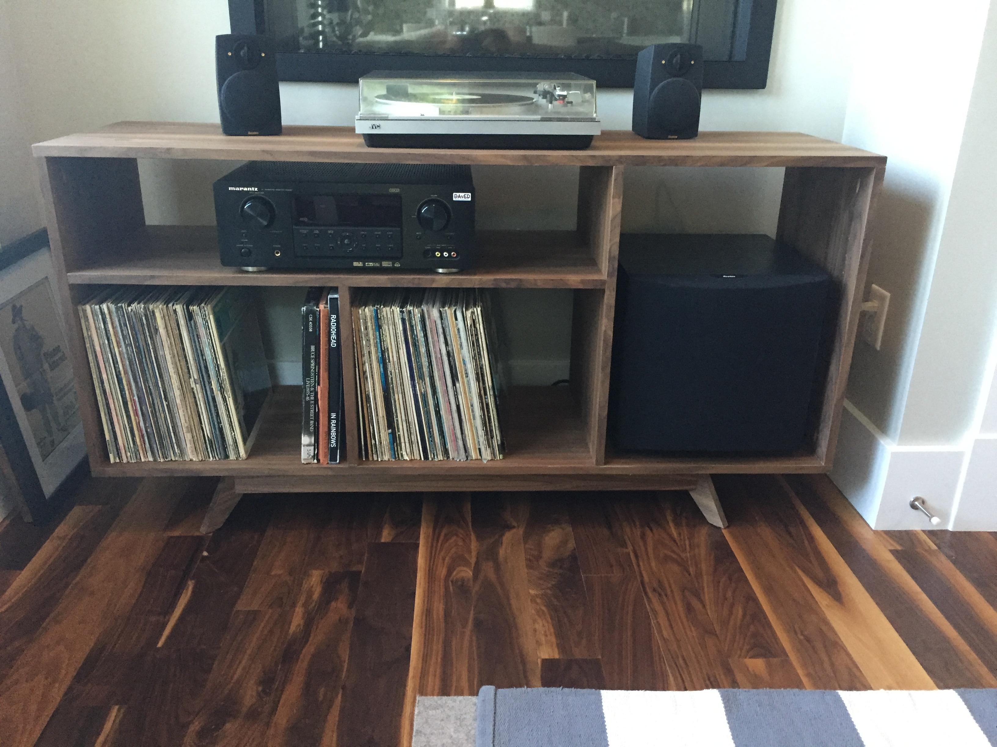 Made a walnut office media console for my stereo / record