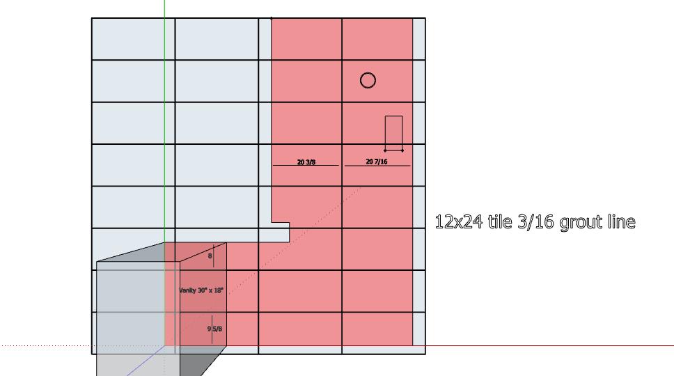 12x24 tile in a 35sqft floor space