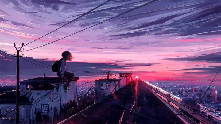 Girl watching the sunset (3840 x 2160)