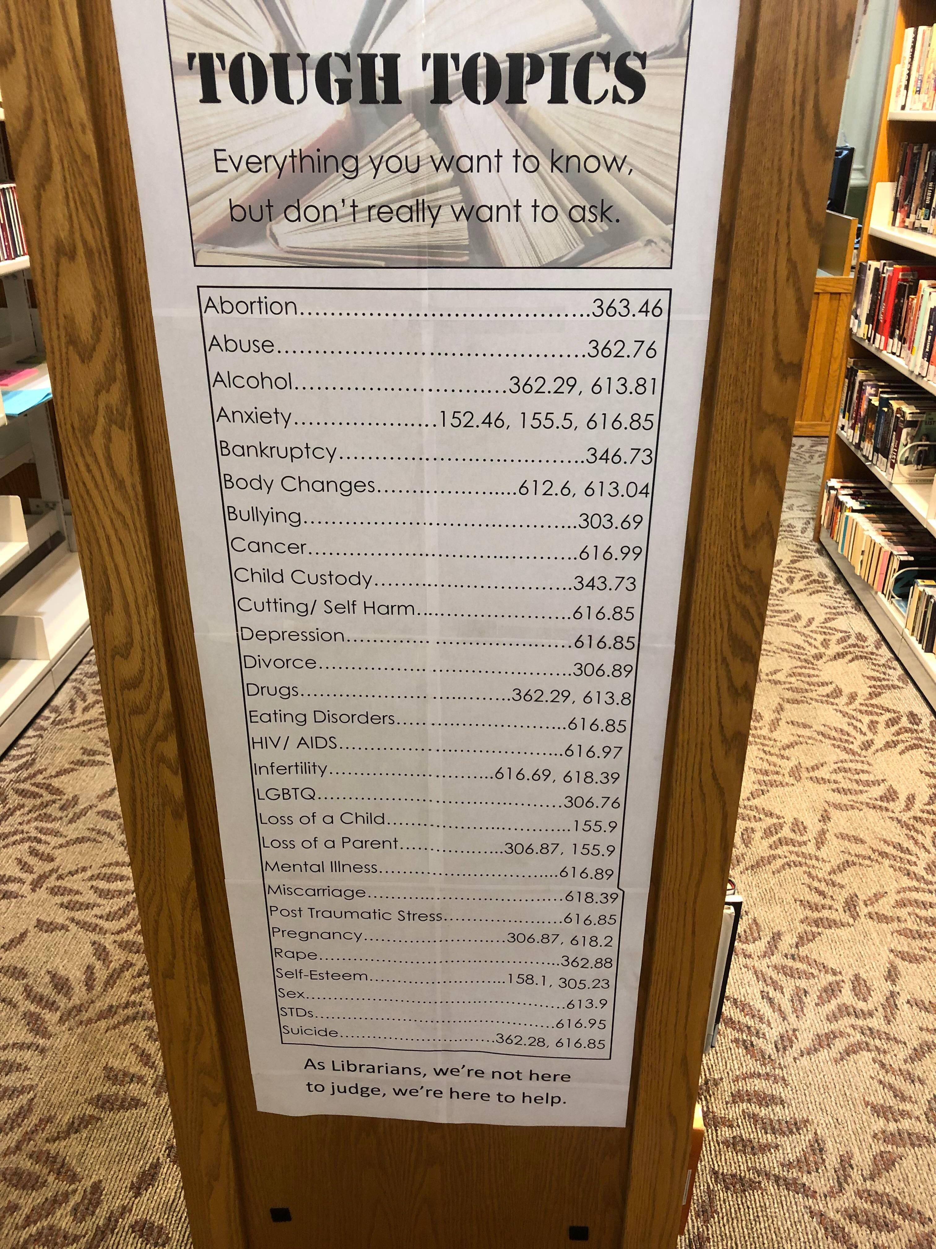This Library Hung A Dewey Decimal Reference Sign For