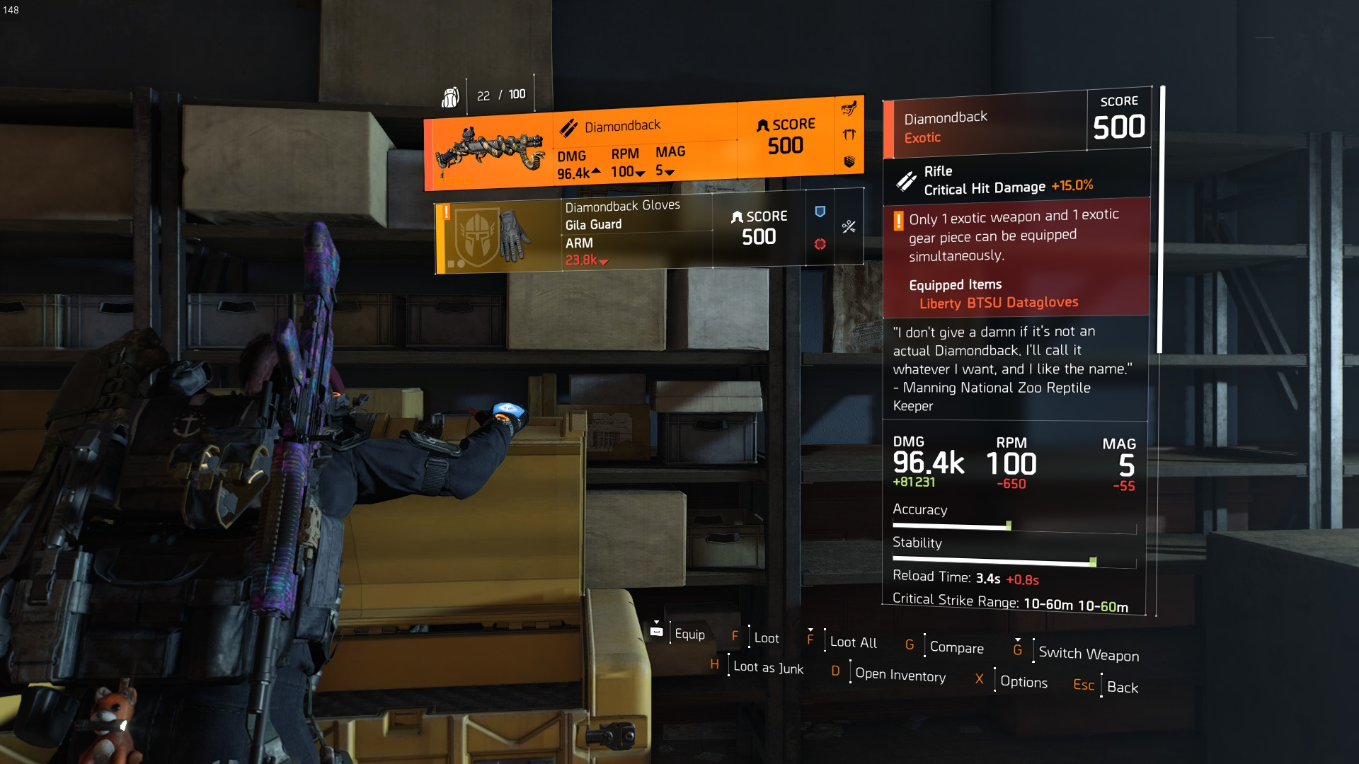 Diamondback in Kenly Student Union expedition chest : thedivision