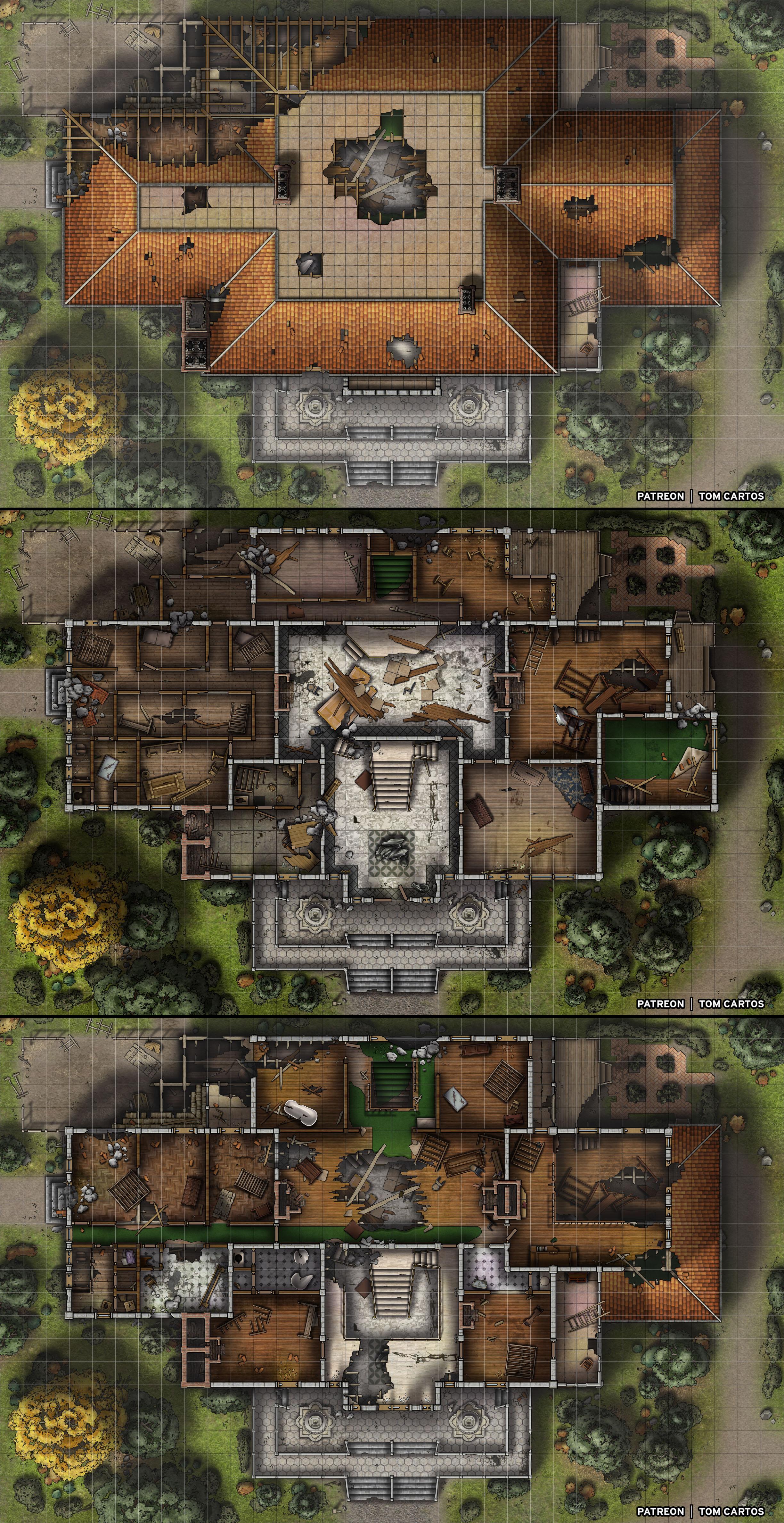 Manor Dnd Map : manor, Ruins, Essenheim, Manor, Three, Level, Abandoned, Mansion, [34x22x3], Dndmaps