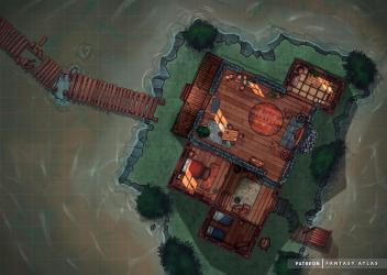 Battlemap][24x17][3600 x 2550px] Cabin in the Swamps occult basement in comments : FantasyMaps