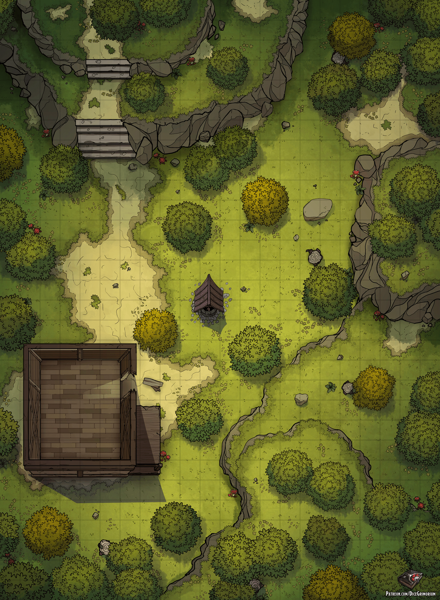 Forest Dnd Map : forest, Shack, Forest, Battle, 22x30, Roll20