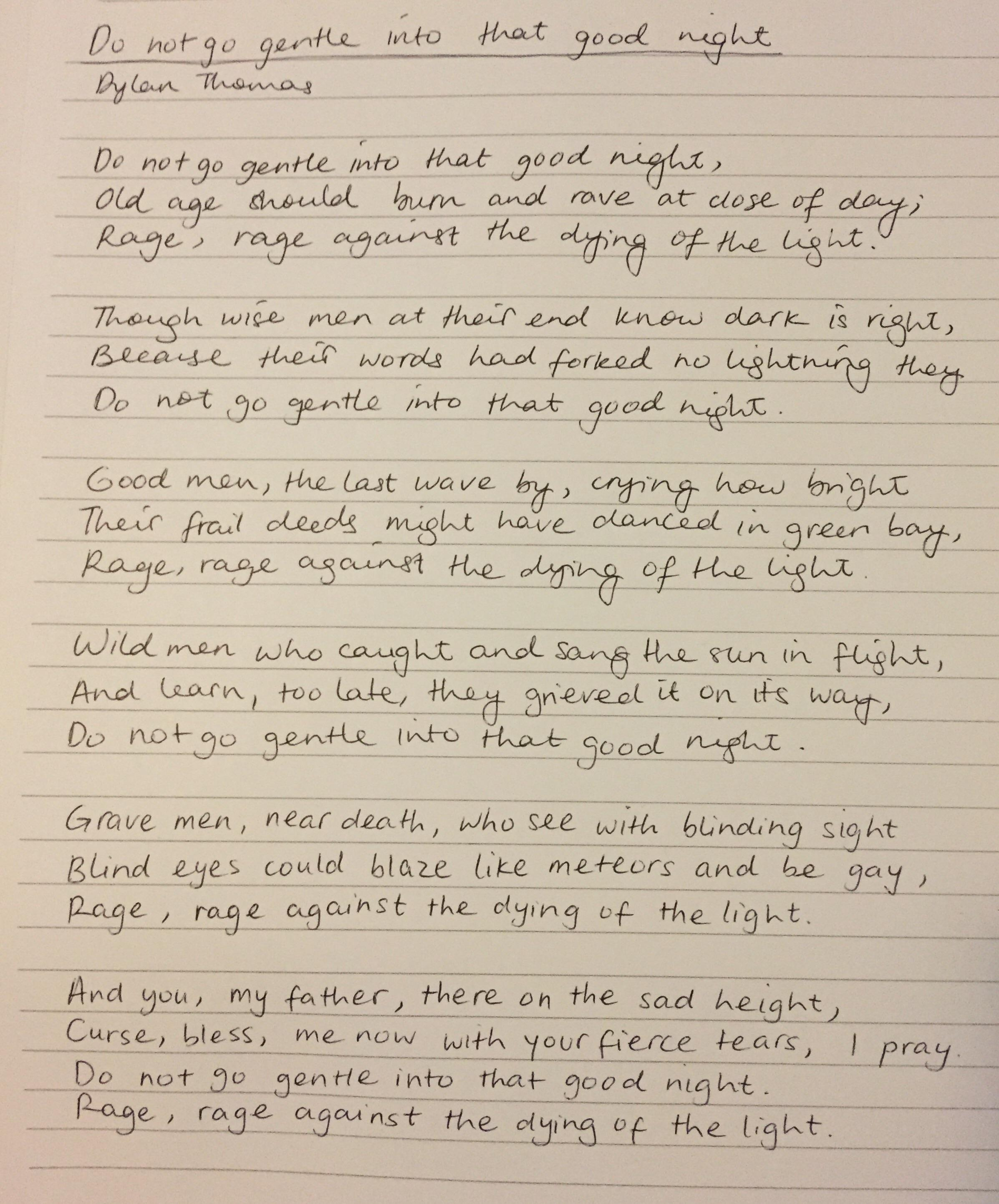 Any Thoughts Suggestions Would Be Great First Four Stanzas Is My Normal Handwriting Last Two
