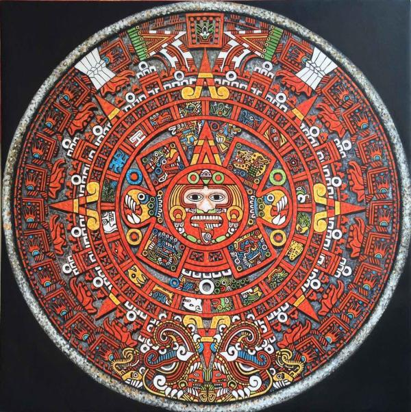 The Mayan Calendar Oil on Canvas 36x36quot Art