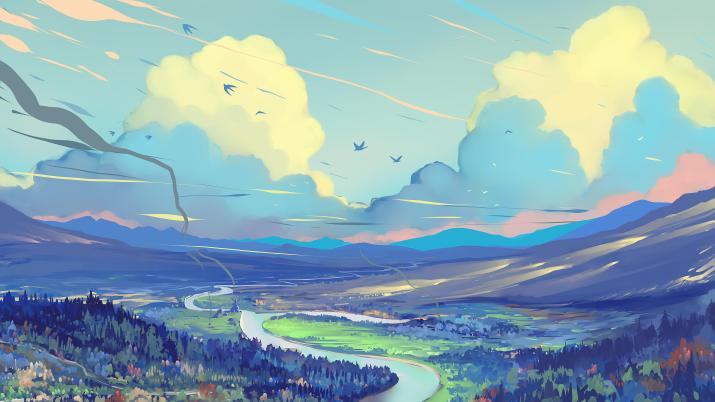 White Blue Red Clouds by Hangmoon [5120 x 2880]