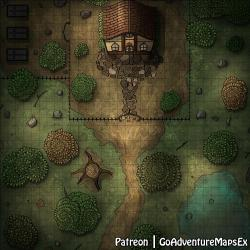 OC][Art] Hut in forest Battle Map 32x32 : DnD