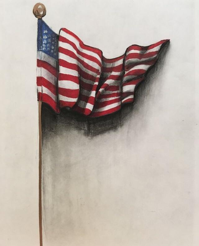 drawing american flag 8x10inch