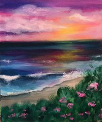 acrylic beach painting sunset beginners simple paintings easy jet step comment samplesofpaystubs