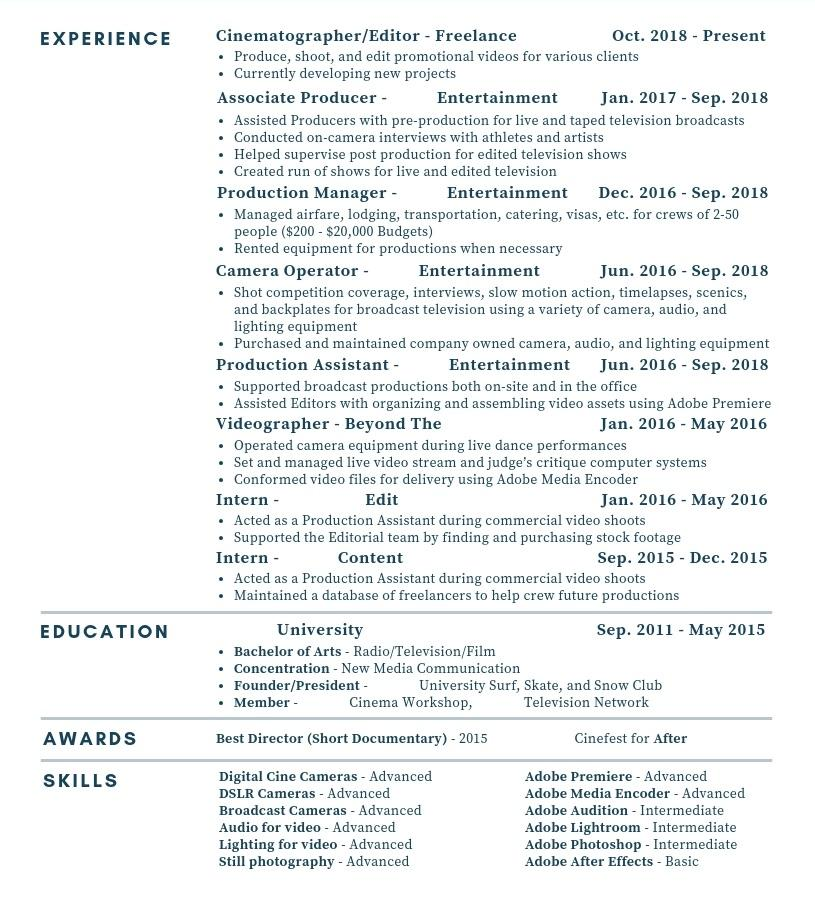 Critique my Resume  Was laid off from my last job in Sept  FilmTelevision Industry  Resume