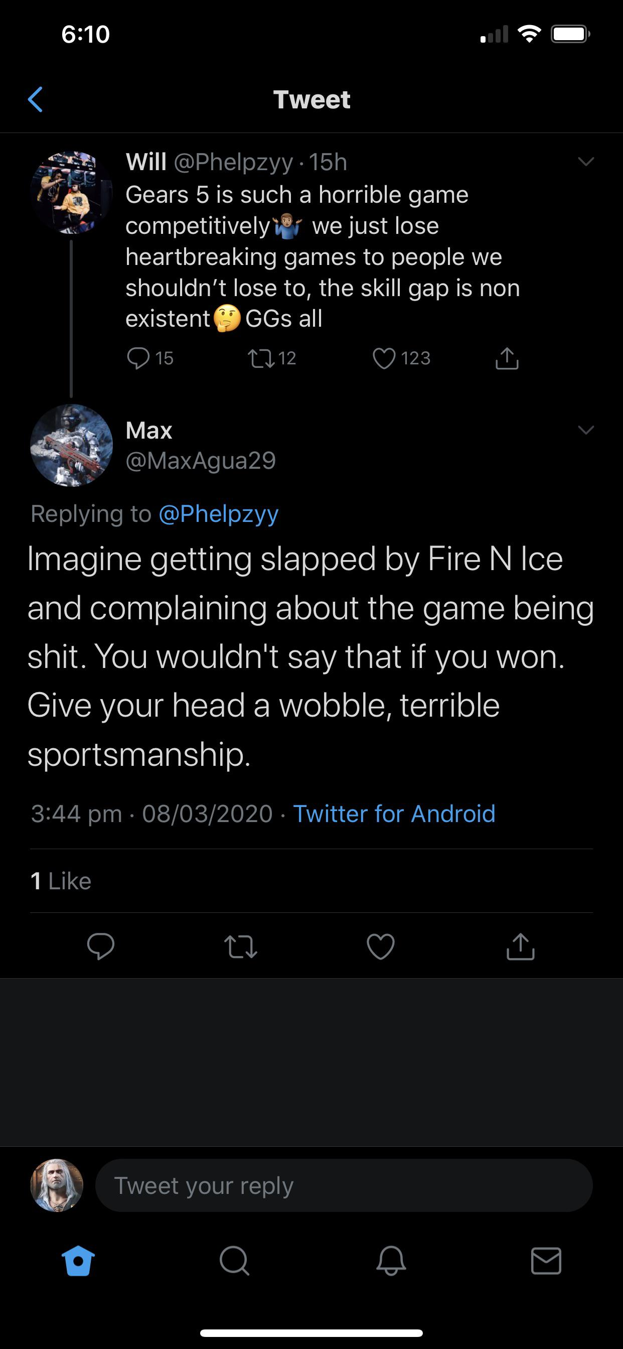 I like this reply a lot. This is why I hate esports in all games but the gears esports is something else. They act like it's the fortnite global ...