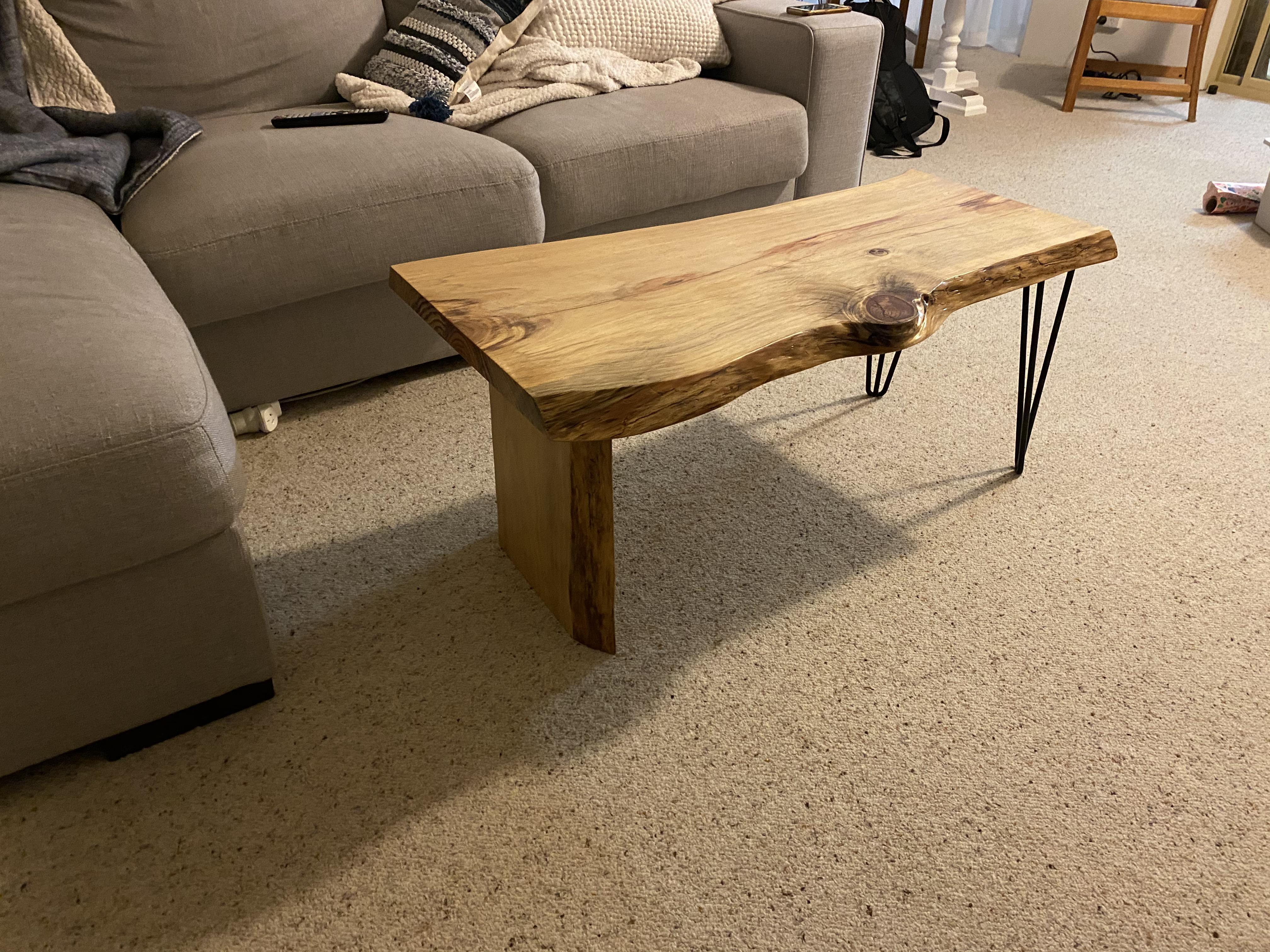 pine coffee table used epoxy resin