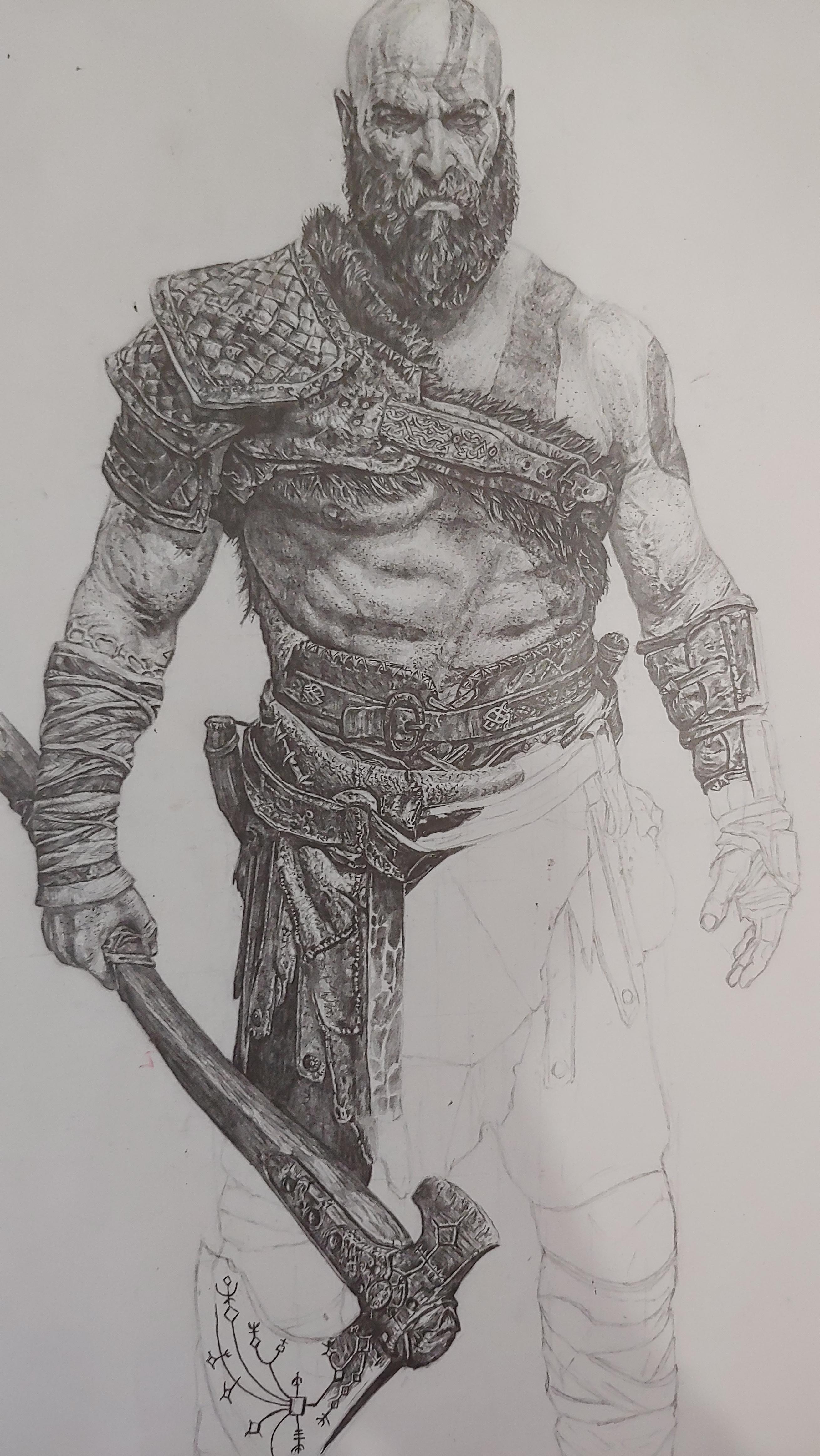 How To Draw Kratos : kratos, Work-in-progress, Kratos., Drawing, Existing, Image, Original, Artworks, GodofWar