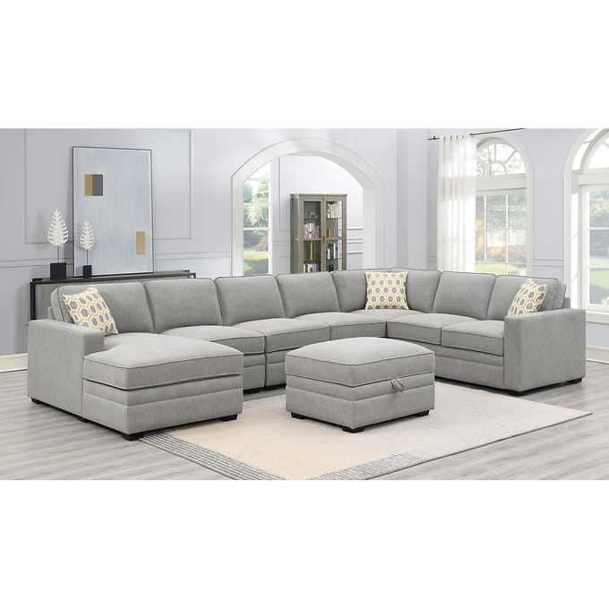 amberly fabric sectional with ottoman