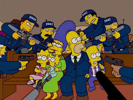 Simpsons, you're under arrest for the violation of the Government Knows  Best Act!: TheSimpsons