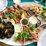 I Ate Seafood Platter Of Calamari Fresh Oysters Grilled Line Fish Prawns Langoustines And Mussels With Lemon Butter Sauce Food