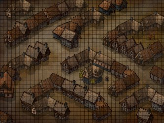 Battlemap experiment grid 24 for A4 size map and small markers alleys outside tavern for pathfinder game Bit off scale : inkarnate