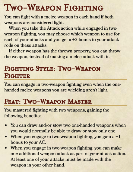 Archery Fighting Style 5e : archery, fighting, style, Two-Weapon, Fighting, Revision, UnearthedArcana