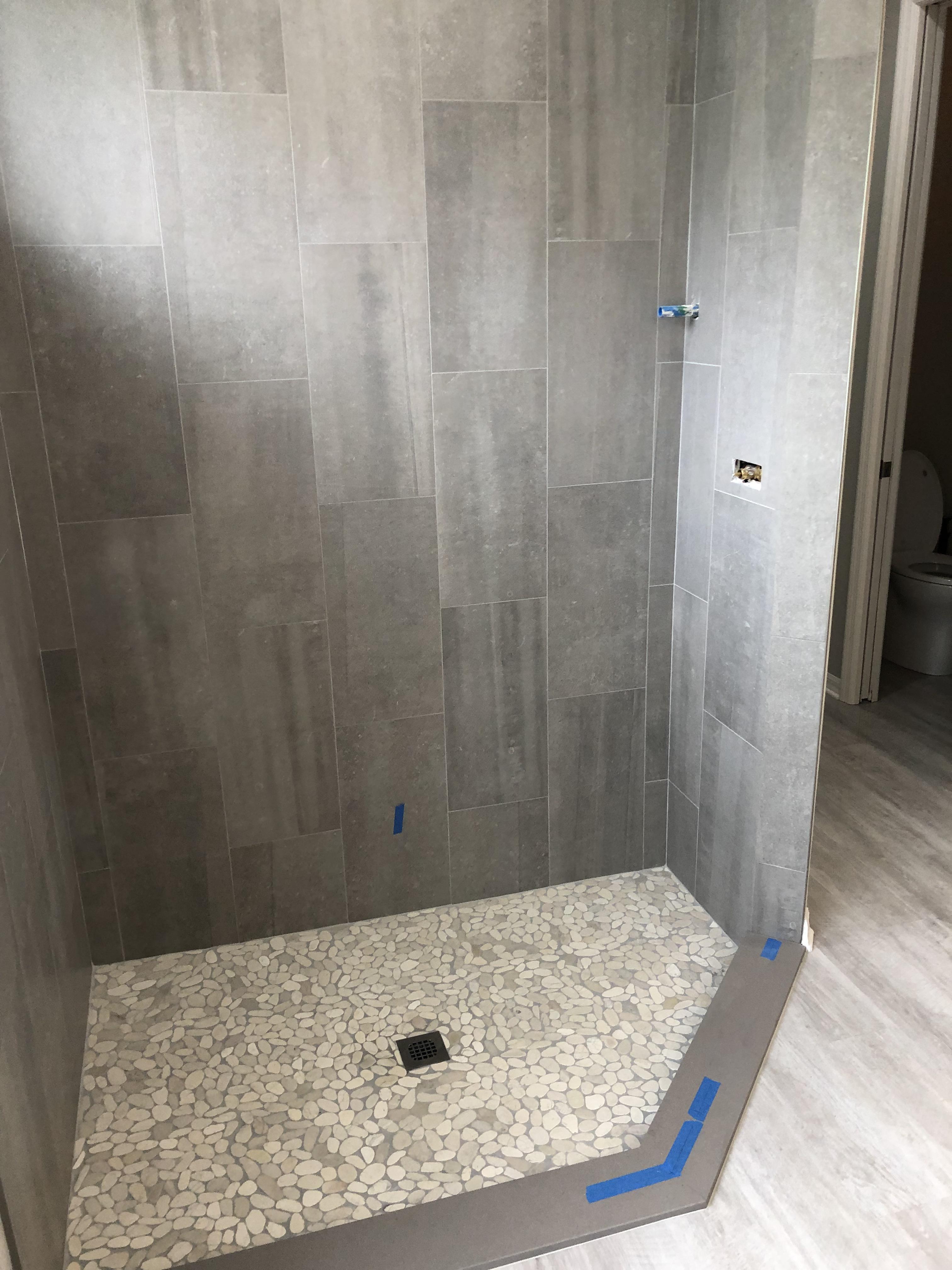 plain shower concrete look tile