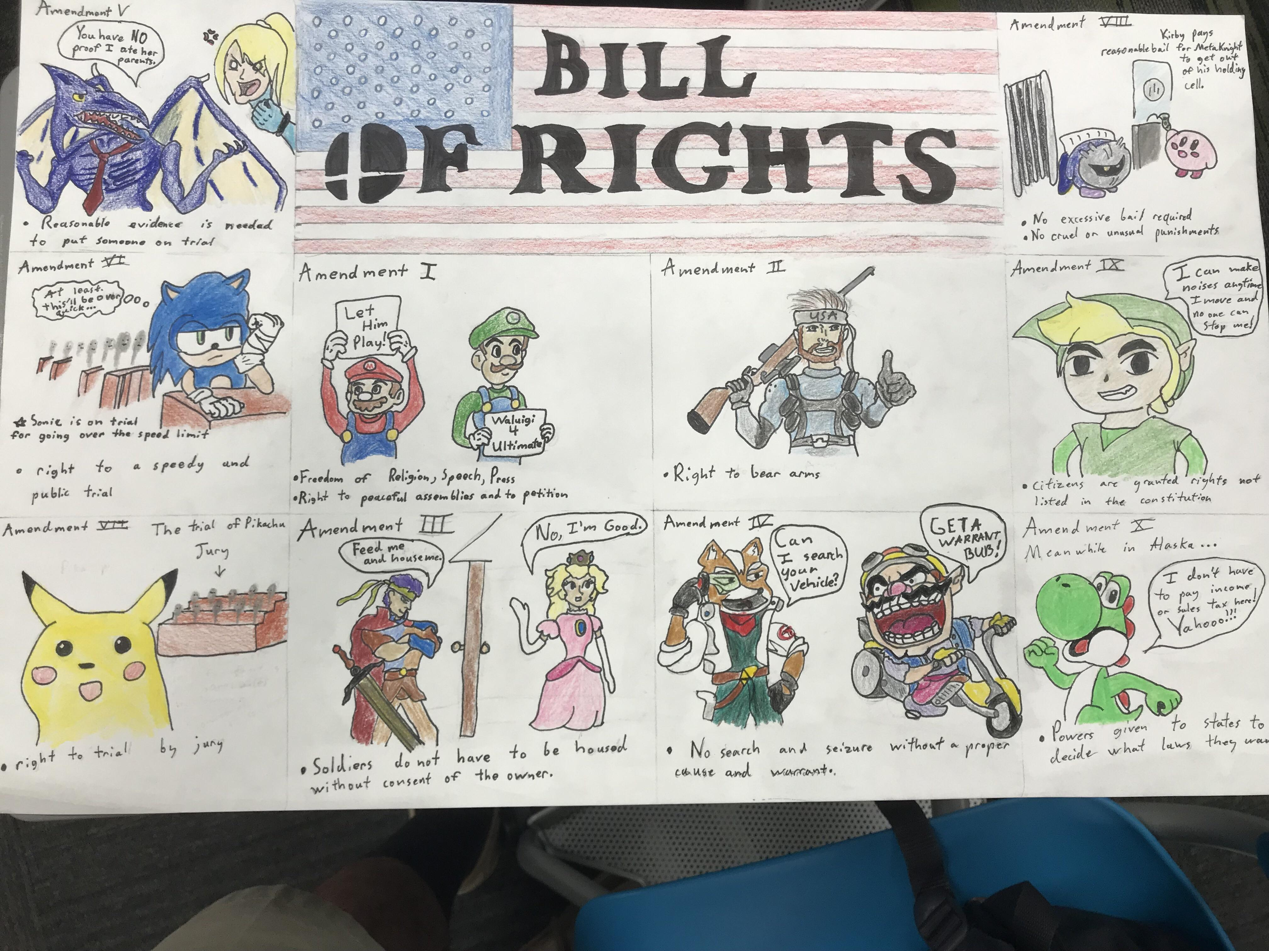 My Smash Bros Themed Bill Of Rights Project The Drawings