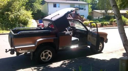 small resolution of customstrange extended cab convertible stepside 83 toyota pickup i spotted on craigslist link in comments i redd it