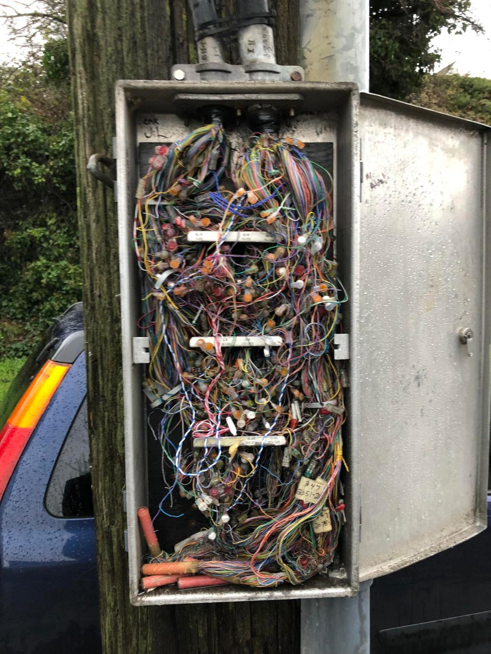 medium resolution of cable box on an electrical pole no utility truck in sight