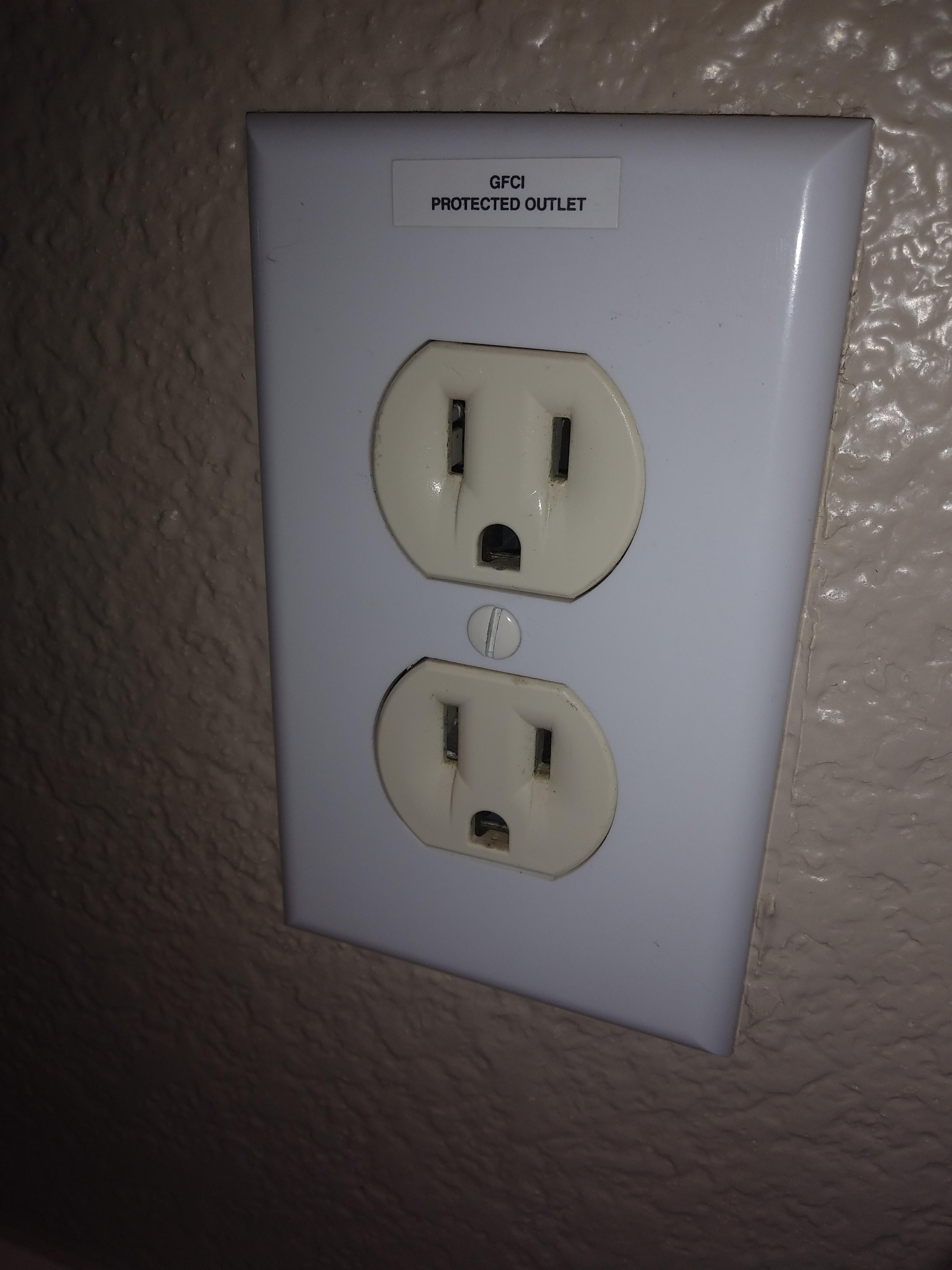 Gfci Protected Outlet Sticker : protected, outlet, sticker, Really, Outlet, Without, Test/reset, Buttons?, Residential, Bathroom., Electricians