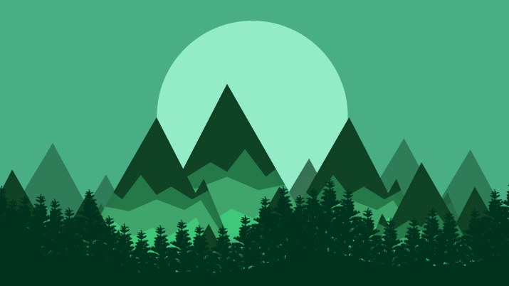 minimalist stylized mountains wallpaper (the sun is a giant orb of death for some reason) [3840×2160]