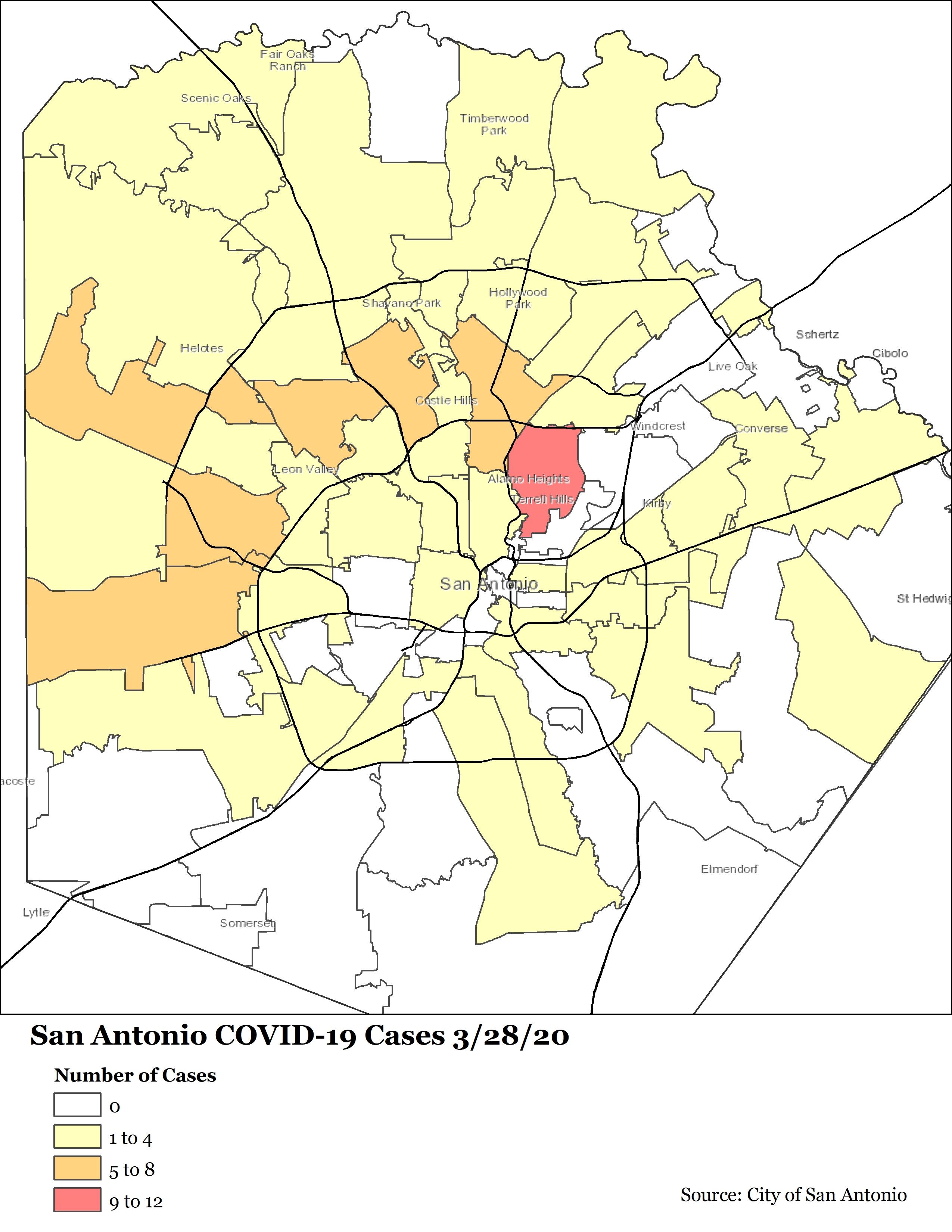 Map Of San Antonio Zip Codes : antonio, codes, COVID-19, Cases, Antonio, 3/28/20, Sanantonio