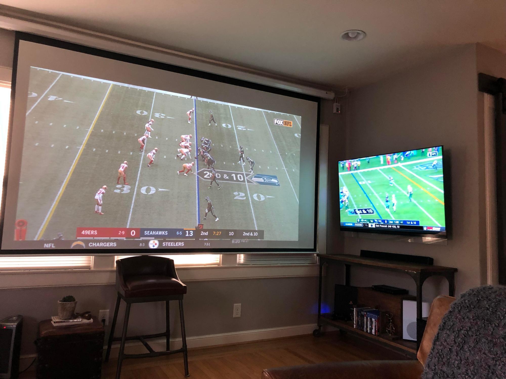 hight resolution of projectorssmall sunday football setup