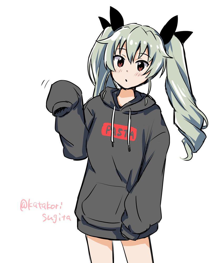 Anime Girl With Oversized Hoodie : anime, oversized, hoodie, Decided, Contribute, Anchovy, Oversized, Hoodie!, AnchovyAtAnzio