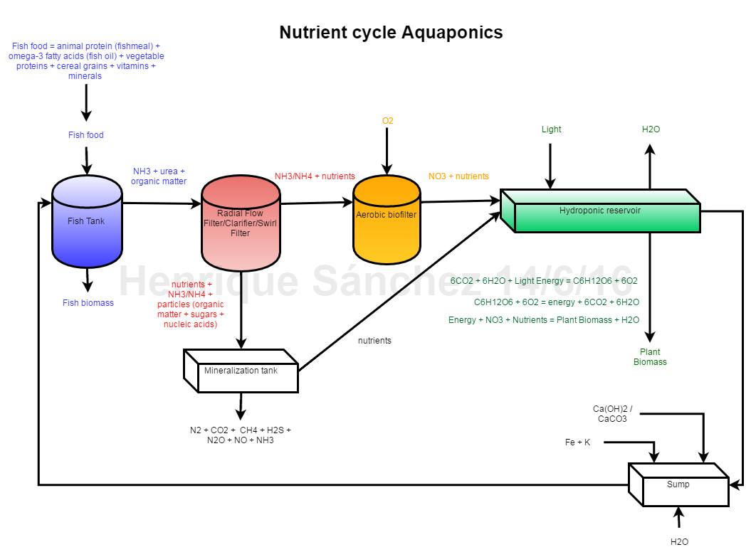 hight resolution of complete nutrient cycle diagram in aquaponics