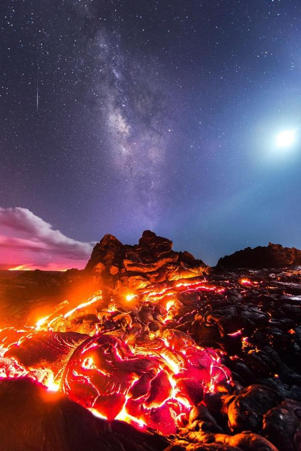 Lava Meteor Moon and Milky Way Photo