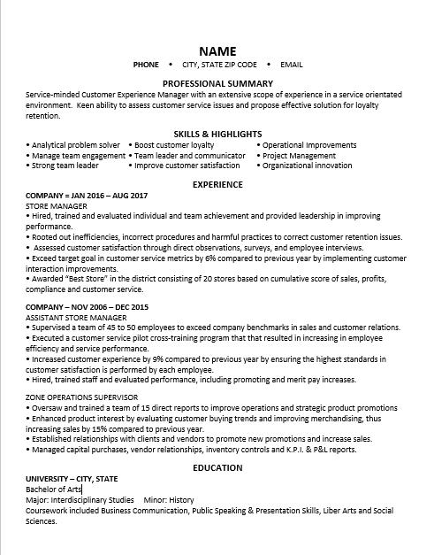 Can you please critique my resume Trying to get out of retail and looking to go into a customer