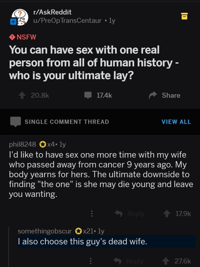 I also choose this guy's dead wife : FunnyandSad