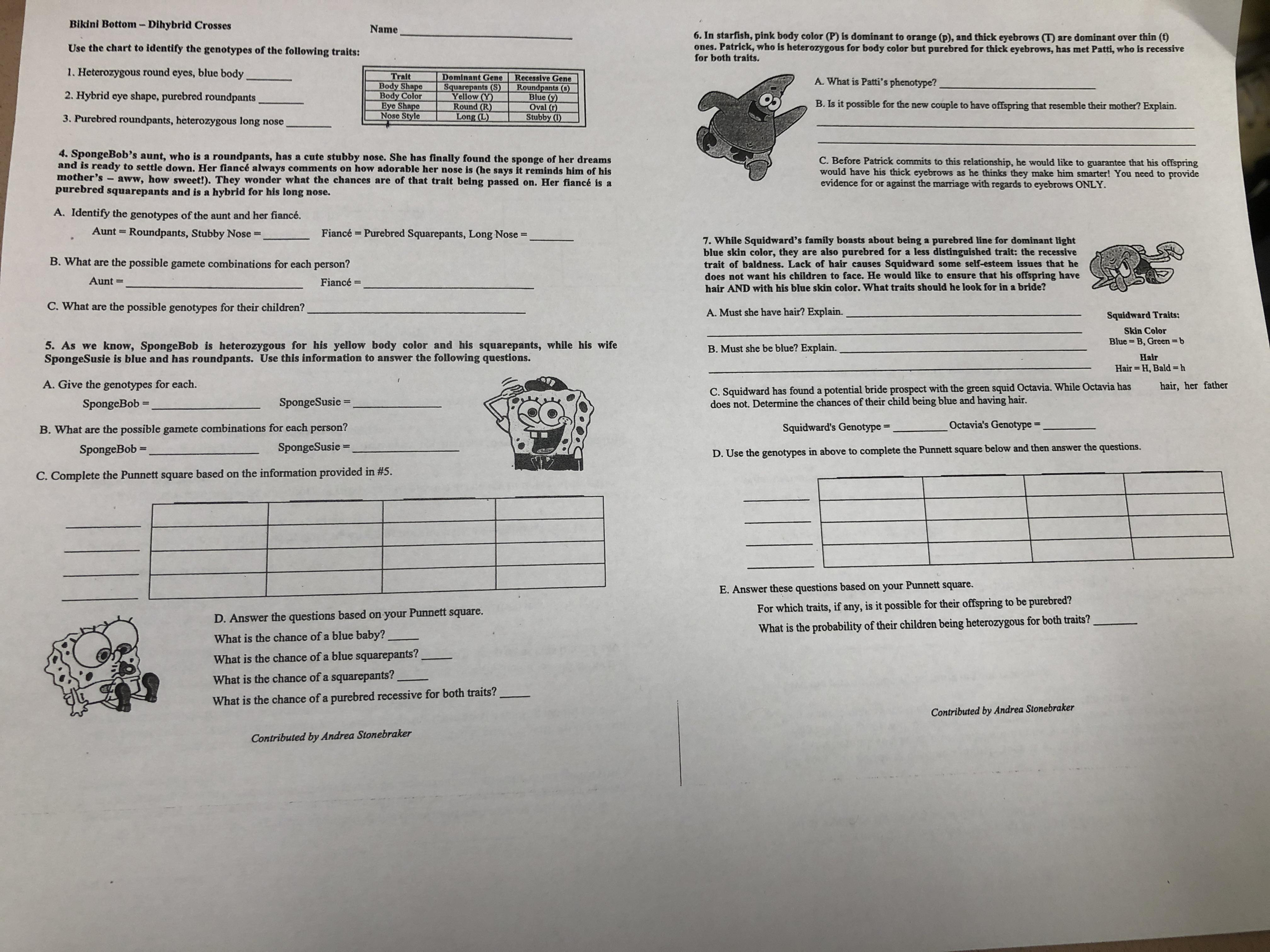 All Of Our Recent Worksheets Have Been Spongebob Lately